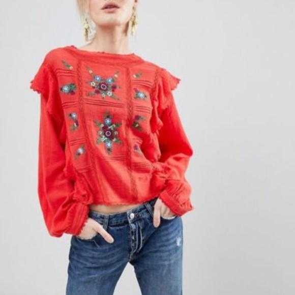 a6bceb161c08cf Free People Tops | Nwt The Amy Top Floral Ruffle | Poshmark